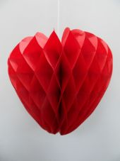Honeycone round  RED paper HEART - 3 Sizes available